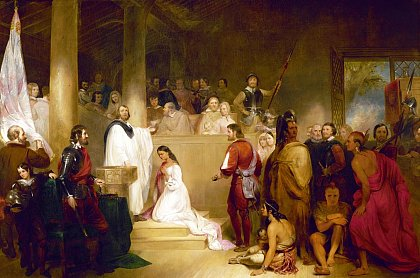 Baptism of Pocahontas by John Gadsby Chapman oil on canvas, 12' x 18', commissioned 1837 placed in U.S. Capitol 1840